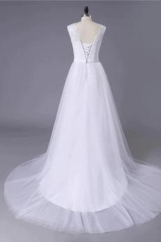Einfach Strand Schnüren Spitzenüberlagerung Natürliche Taille Hochzeitskleid