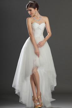 Asymmetrisch Trägerlos Mitte zurück Gefaltete Mieder Brautkleid