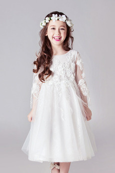 Natürliche Taille Sommer Juwel Glamourös Blumenmädchen kleid