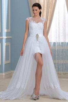 Vorderer Schlitz Satiniert Sommer Brautkleid mit kurzen Ärmeln