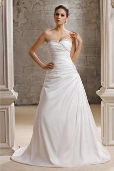 Fallen Ärmellos Schnüren Satin Lange Kristall Hochzeitskleid