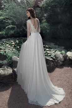 Illusionshülsen A Linie Appliques Fegen zug Spitze Hochzeitskleid