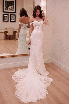 Schöne Draussen Rückenfrei Frühling Mit geschlossenen Ärmeln Brautkleid
