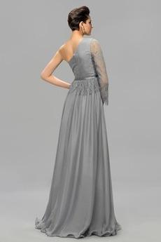 Vorderer Schlitz Natürliche Taille Eine Schulter Lange Ärmel Abendkleid