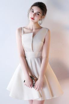 Reißverschluss Satin Natürliche Taille Ärmellos Trauzeugin kleid