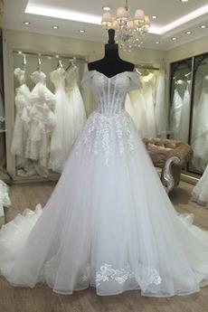 Kirche Baskische Taille Prinzessin Lange Spitze Trichter Brautkleid