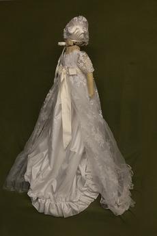 Spitze Hoch bedeckt Illusionshülsen Lange Blumenmädchen kleid