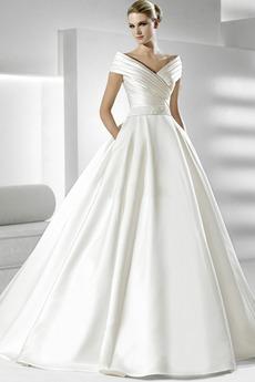 Satiniert Taschen Winter Prinzessin Brautkleid mit kurzen Ärmeln