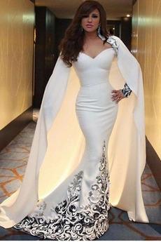Spitze Satiniert V-Ausschnitt Zierlich Mantel Formalen Abendkleid