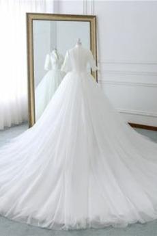 Satiniert T Hemd Reißverschluss Drapiert Frühling Hochzeitskleid