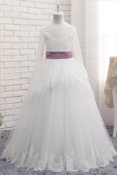 A Linie Leistung Juwel Illusionshülsen Lange Ärmel Blumenmädchen kleid