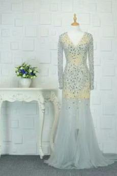 Tanzparty Tüll Lange Ärmel Bodenlänge T Hemd Drapiert Abendkleid