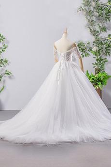 Mehrschichtig große Größe Draussen Tau Schulter Halbe Ärmel Brautkleid