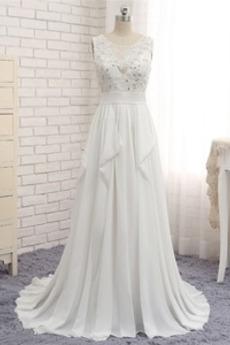 Rückenfrei Ärmellos Invertiertes Dreieck Klassische Brautkleid