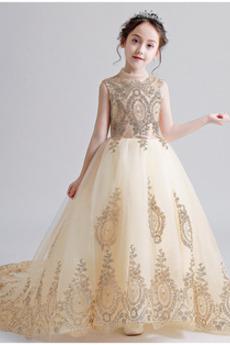Lange Reißverschluss Hoher Hals Illusionshülsen Tüll Blumenmädchen kleid