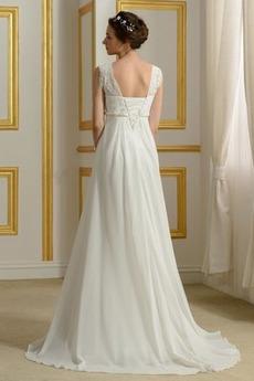 Reich Taille Spitzenüberlagerung Ärmellos Schöne Hochzeitskleid