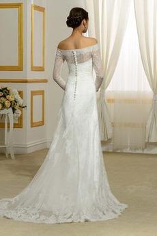 Zierlich Illusionshülsen Lange Ärmel Meerjungfrau Brautkleid