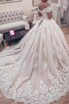 Kathedrale Zug Jahrgang Tau Schulter Brautkleid mit kurzen Ärmeln