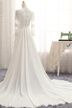 Lange Ärmel Illusionshülsen Juwel A Linie Fegen zug Brautkleid
