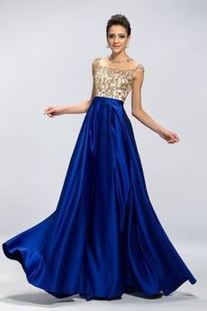 Natürliche Taille Appliques Birne Ärmellos Juwel Spitzenüberlagerung Abendkleid