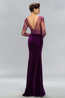 Samt Vorderer Schlitz Knöchellänge Natürliche Taille Sexy Abendkleid