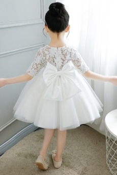 Reißverschluss Knielänge Illusionshülsen Blumenmädchen kleid