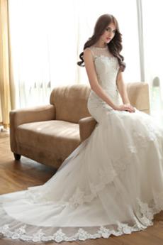 Breit flach Formalen Spitzenüberlagerung Ärmellos Brautkleid