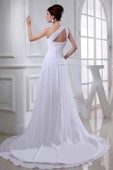 Trichter Ärmellos Strand Schnüren Lange A Linie Hochzeitskleid