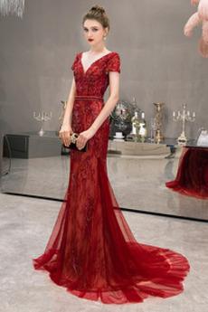 Tüll Kurze Ärmel Reißverschluss Luxuriös Mantel V-Ausschnitt Abendkleid