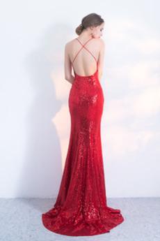 Sequiniert Natürliche Taille Sexy Spaghetti-Träger Ballkleid