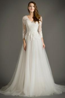 V-Ausschnitt Reißverschluss Appliques Lange Ärmel Brautkleid