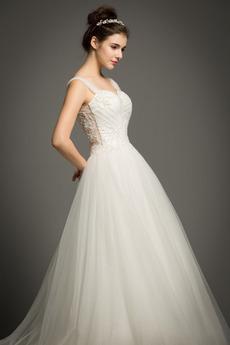 Natürliche Taille Einfach Ärmellos Draussen A Linie Tüll Brautkleid