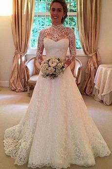 Spitzenüberlagerung Lange Trichter Spitze Lehnenlose Brautkleid