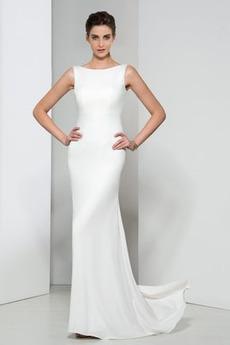 Frenal Ärmellos Natürliche Taille Fegen zug Hochzeit Abendkleid