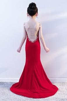 Lange Elasthan Leistung Trichter Meerjungfrau Schicke Blumenmädchenkleid