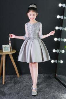 Spitzenüberlagerung Juwel Karte Satiniert Kleine Mädchen Kleid