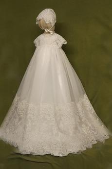 hoch gedeckt Natürliche Taille Kurze Ärmel Kleine Mädchen Kleid