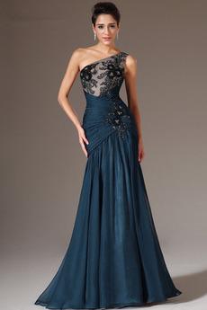 Chiffon Juwel akzentuiertes Mieder Reißverschluss Abendkleid