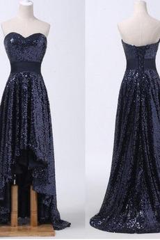 Schnüren Asymmetrisch Sequiniert Natürliche Taille Abendkleid