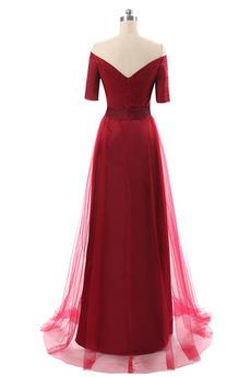 Sommer Mit geschlossenen Ärmeln Rot Fegen zug Natürliche Taille Abendkleid