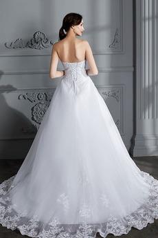 Natürliche Taille Spitzenüberlagerung Trichter Tüll Brautkleid