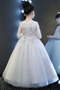 Knöchellänge Trichter Juwel Formalen Spitze Blumenmädchen kleid