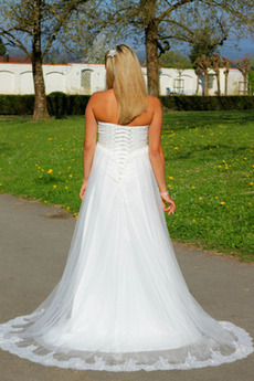 Tüll Trägerlos Perlengürtel Ärmellos Schnüren Draussen Brautkleid