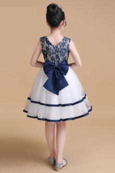 Ärmellos Leistung Spitze Natürliche Taille Blumenmädchen kleid