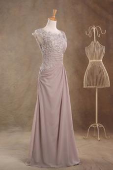 hoch gedeckt Chiffon Scoop Invertiertes Dreieck Mutter der Braut Kleid