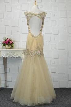 Fiel Taille Bördeln Bateau Tüll Tanzparty Lehnenlose Abendkleid