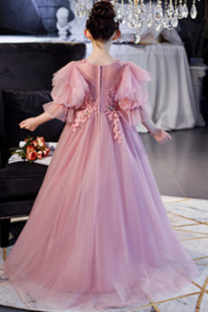 Formalen Fallen Swing Reißverschluss Juwel Blumenmädchen kleid