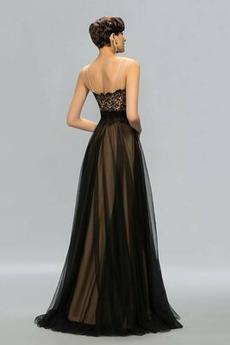 Spitzenbesatz Dünn Natürliche Taille Einfach Reißverschluss Abendkleid