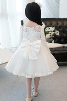 Reißverschluss Hochzeit Natürliche Taille Blumenmädchen kleid