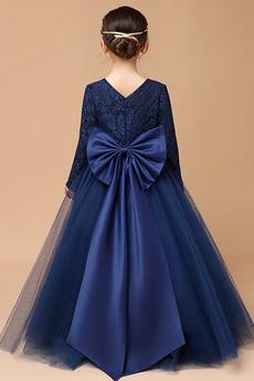Juwel Spitzenbesatz Lange Ärmel Akzentuierter Bogen Blumenmädchen kleid